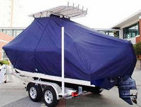 Photo of Cobia® 217CC 20xx T-Top Boat-Cover, viewed from Port Rear