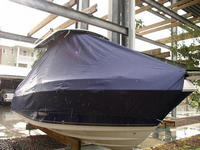 Cobia® 236CC T-Top-Boat-Cover-Wmax-999™ TTopCover(tm) T-Top or Hard-Top Boat-Cover (Weathermax -80(tm) 8oz./sq.yd. fabric) connects to underside of T-Top or Hard-Top frame to cover entire boat, bow, helm, cockpit and motor(s). Custom patterned (not a generic fit cover) for tight fit