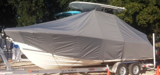 Cobia 237CC, 20xx, TTopCovers™ T-Top boat cover, port front