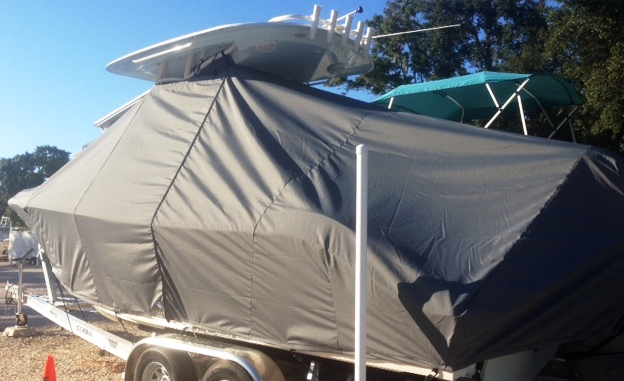 Cobia 240CC, 20xx, TTopCovers™ T-Top boat cover, port rear