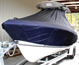Cobia 256CC, 20xx, TTopCovers™ T-Top boat cover, port front