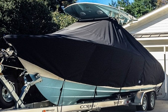 Cobia 261CC, 20xx, TTopCovers™ T-Top boat cover, port front