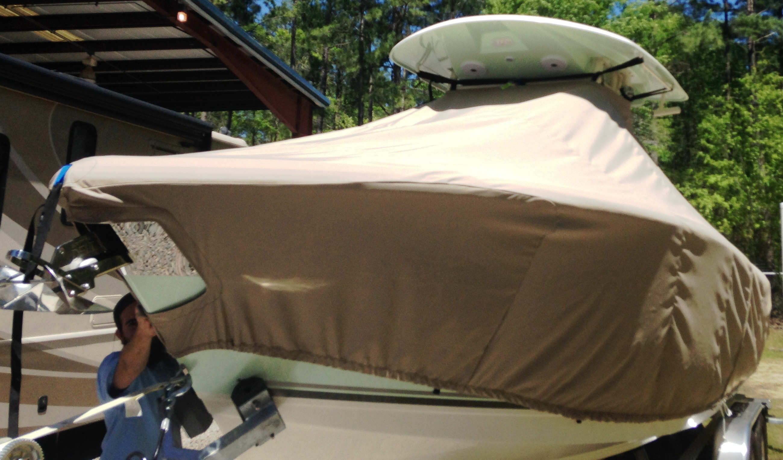 Cobia 280cc, 20xx, TTopCovers™ T-Top boat cover, port front