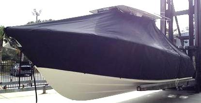 Cobia 296CC, 20xx, TTopCovers™ T-Top boat cover, port front