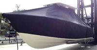 Photo of Cobia® 296CC 20xx T-Top Boat-Cover, viewed from Port Front