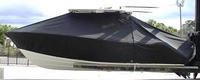 Photo of Cobia® 296CC 20xx T-Top Boat-Cover, viewed from Port Side