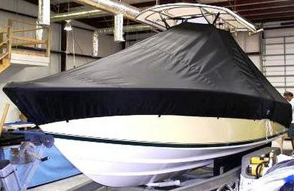 Contender 21 Open, 19xx, TTopCovers™ T-Top boat cover, port fronty