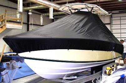 Contender 21 Open, 20xx, TTopCovers™ T-Top boat cover, port front