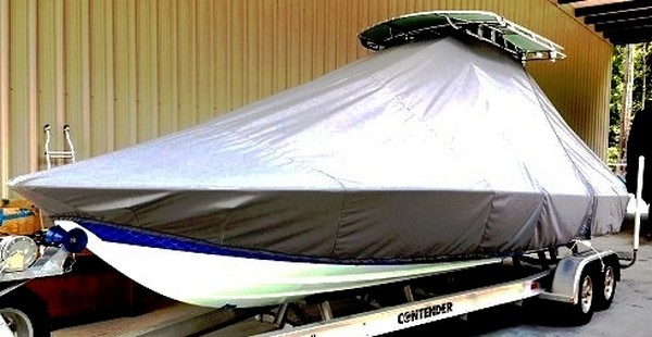 Contender 25 Bay, 19xx, TTopCovers™ T-Top boat cover, port front