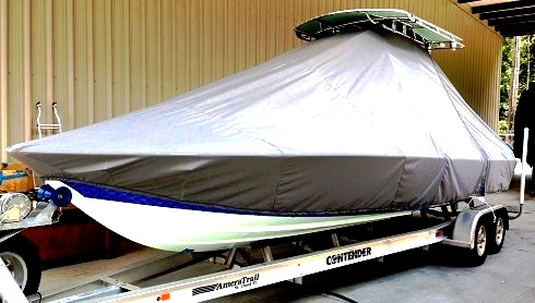 Contender 25 Bay, 20xx, TTopCovers™ T-Top boat cover, port front