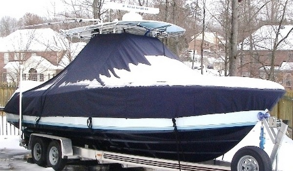 Contender 25 Open, 19xx, TTopCovers™ T-Top boat cover Snow Covered, starboard front