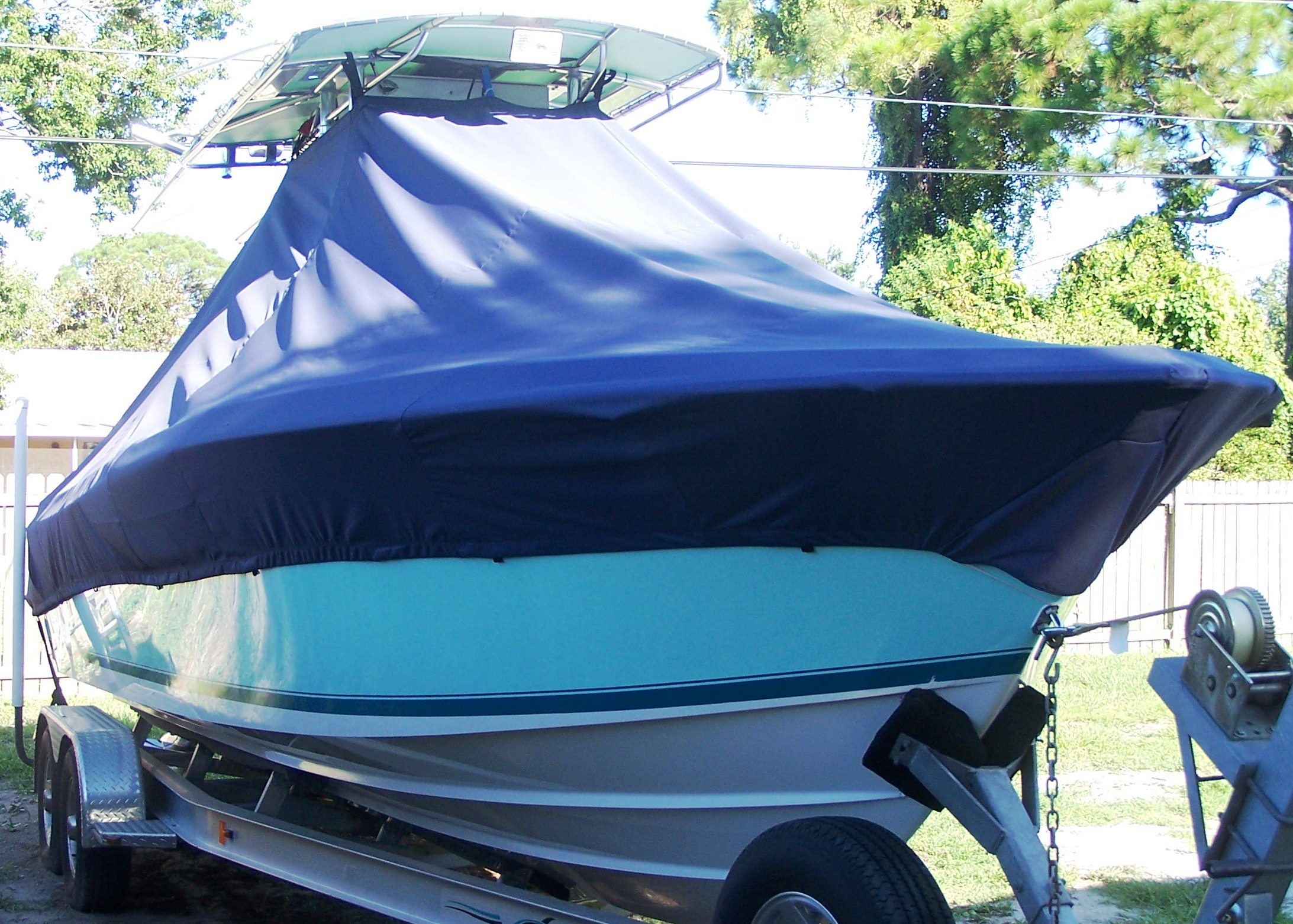 Contender 25 Open, 19xx, TTopCovers™ T-Top boat cover, starboard front