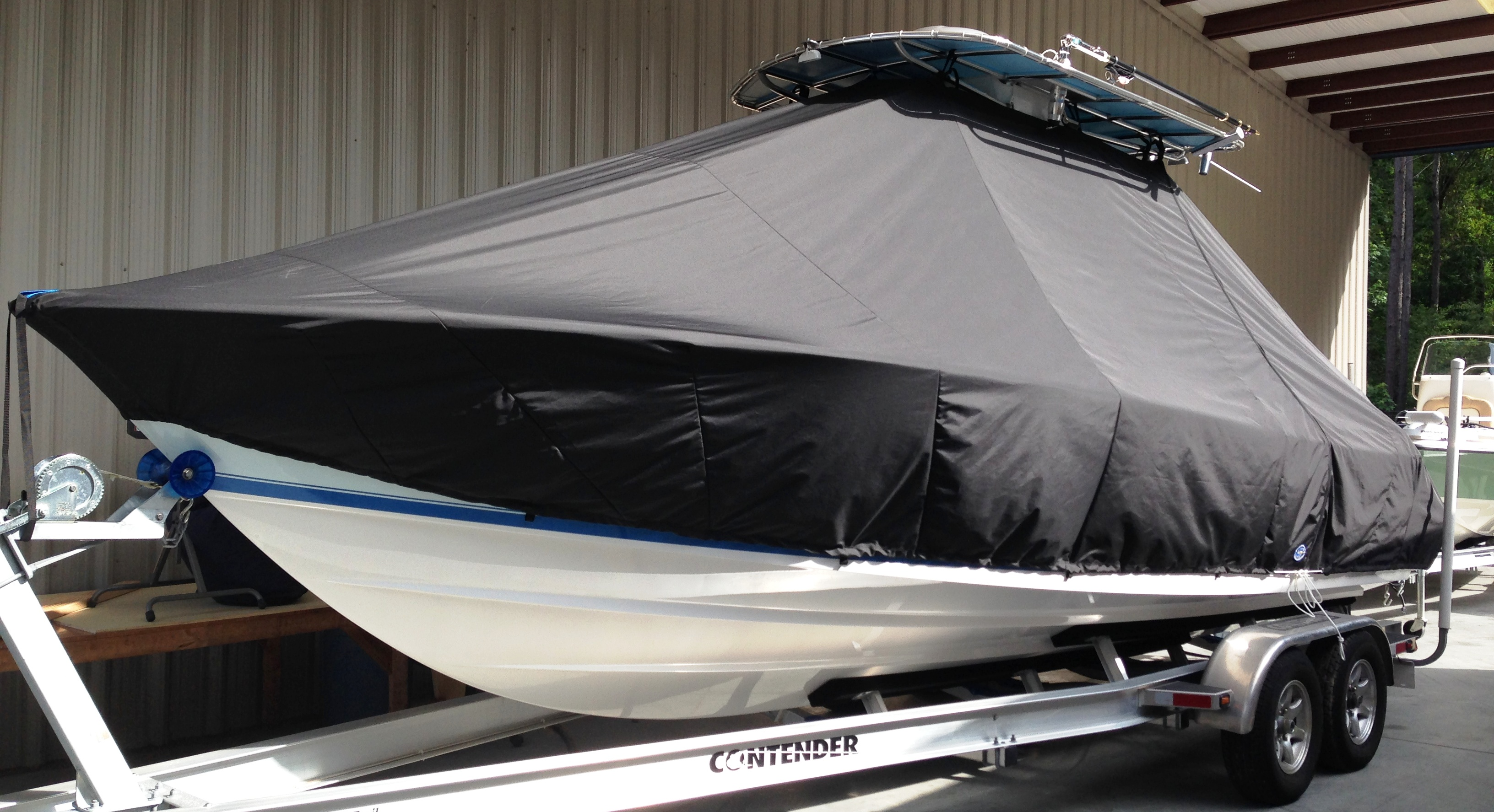 Contender 25 Tournament, 19xx, TTopCovers™ T-Top boat cover, port front