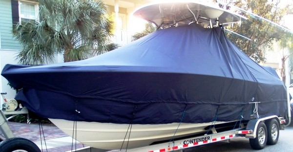 Contender 28 Open, 19xx, TTopCovers™ T-Top boat cover with Extended Skirt, port front