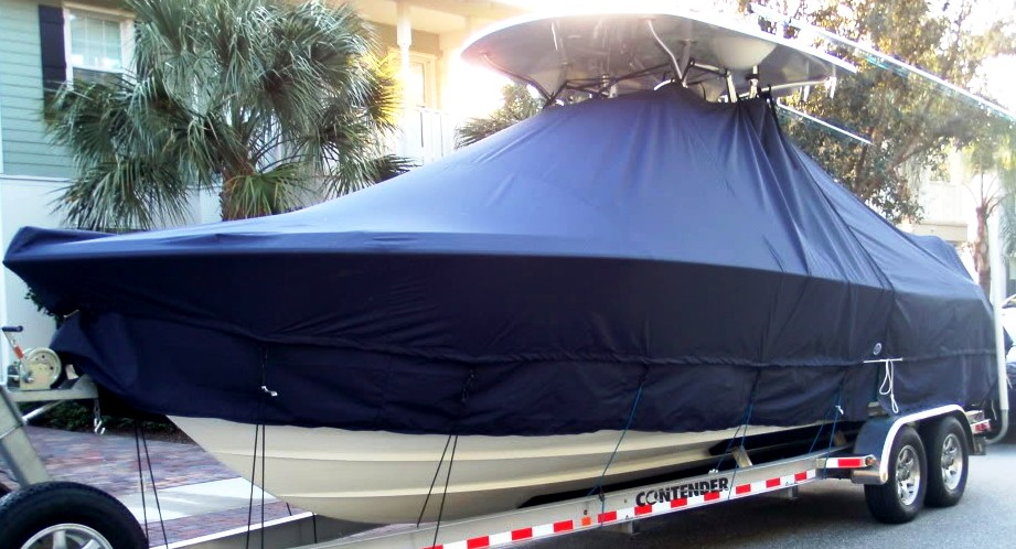 Contender 28 Open, 20xx, TTopCovers™ T-Top boat cover with Extended Skirt, port front