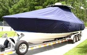 Contender 35, 20xx, TTopCovers™ T-Top boat cover, port front