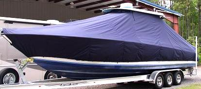 Contender 36 Fish Around, 20xx, TTopCovers™ T-Top boat cover, port front