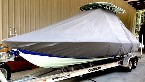 Contendor 25 Bay, 20xx, TTopCovers™ T-Top boat cover, port front