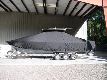 Contendor 32, TTopCovers™ T-Top boat cover 556 side