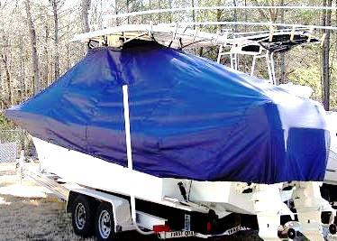 Dusky 233 Open, 20xx, TTopCovers™ T-Top boat cover, port rear