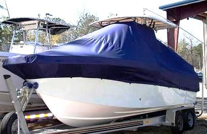 Dusky 233XF, 20xx, TTopCovers™ T-Top boat cover, port front