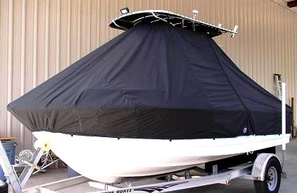Edgewater 188CC, 20xx, TTopCovers™ T-Top boat cover, port front
