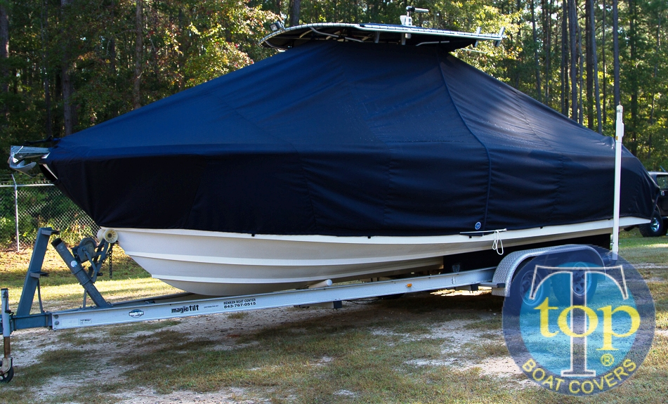 Edgewater 245CC, 20xx, TTopCovers™ T-Top boat cover, port front