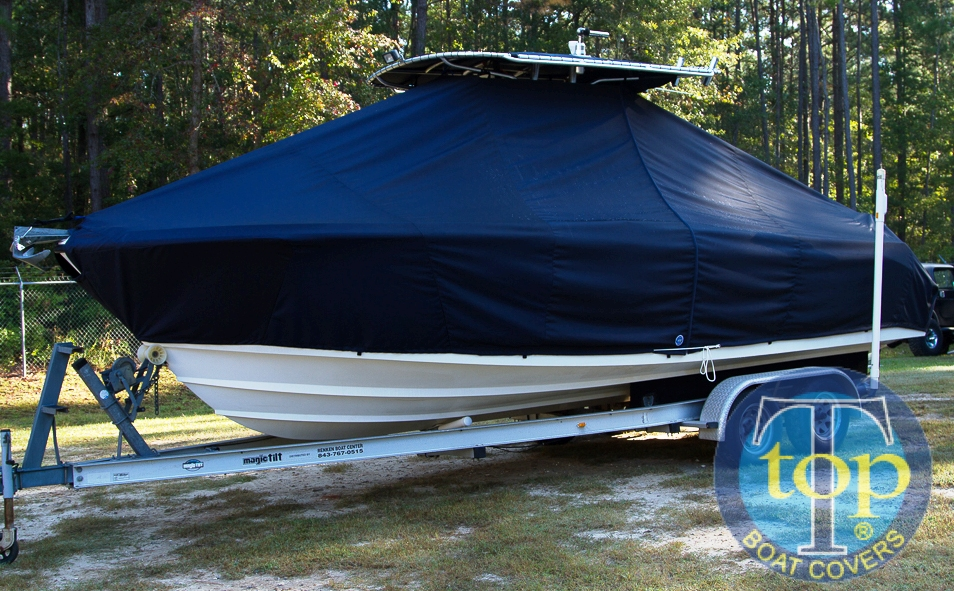 Edgewater 245CC, 20xx, TTopCovers™ T-Top boat cover side