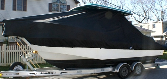 Edgewater 247CC, 20xx, TTopCovers™ T-Top boat cover, port side
