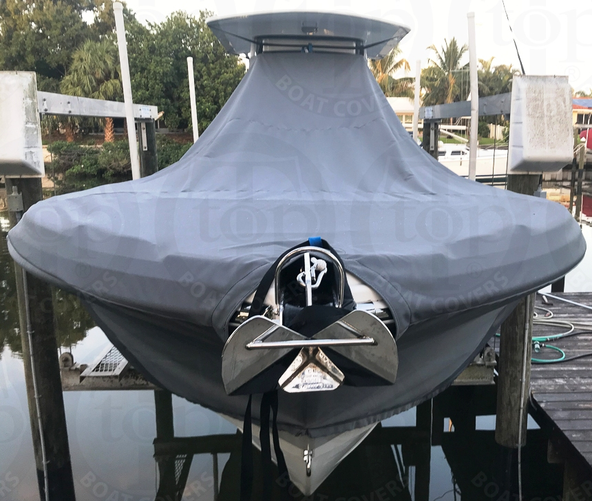 Edgewater 262CC, 20xx, TTopCovers™ T-Top boat cover front