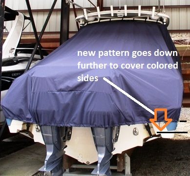 Edgewater 265 Express, 20xx, TTopCovers™ T-Top boat cover rear
