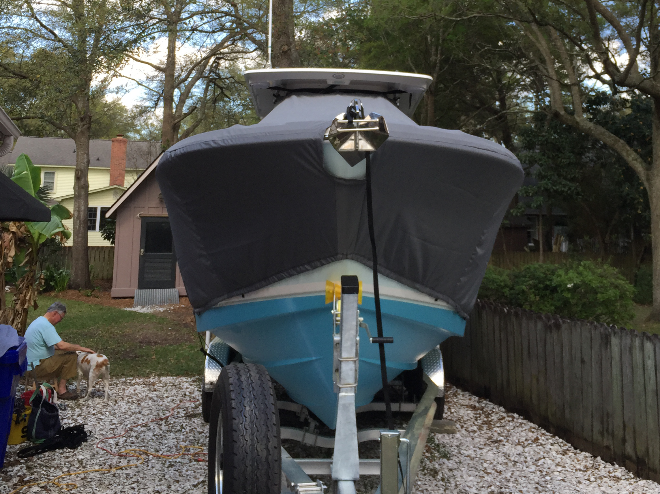 Edgewater 280CC, 20xx, TTopCovers™ T-Top boat cover front