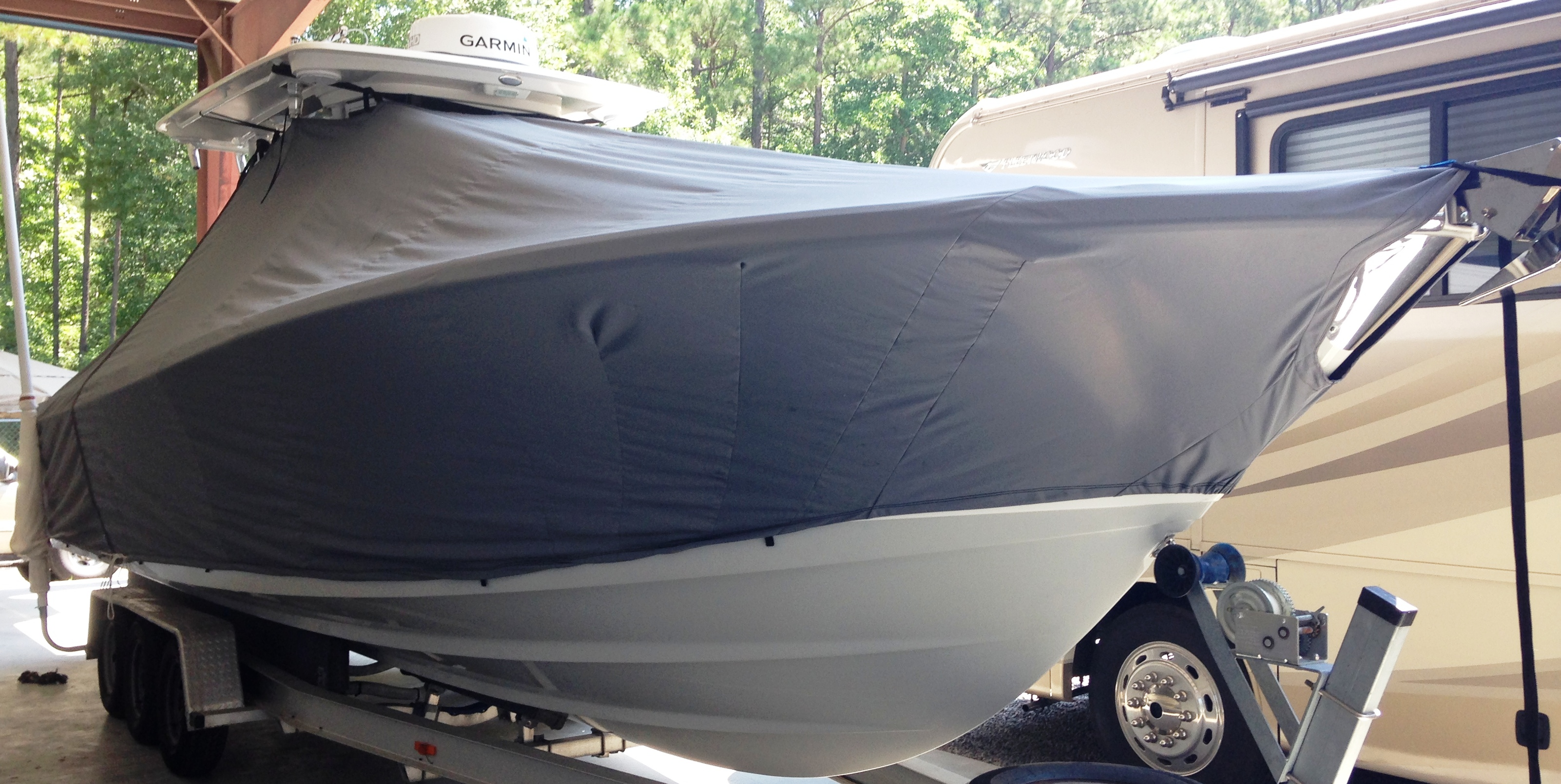 Edgewater 320CC, 20xx, TTopCovers™ T-Top boat cover, starboard front