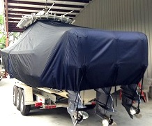 Edgewater 388CC, 20xx, TTopCovers™ T-Top boat cover, port rear