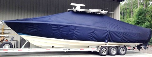 Edgewater 388CC, 20xx, TTopCovers™ T-Top boat cover, port side