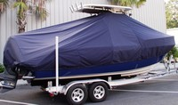 Everglades® 230CC T-Top-Boat-Cover-Elite-1149™ TTopCover(tm) T-Top or Hard-Top Boat-Cover (Elite 9oz./sq.yd. fabric) attaches beneath T-Top or Hard-Top frame to cover entire boat, bow, helm, cockpit and motor(s). Custom patterned for tight fit
