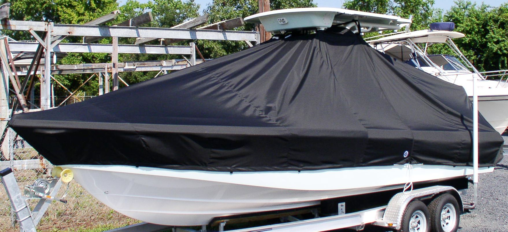 Everglades 243CC 20xx T-Top-Boat-Cover Black, port-front