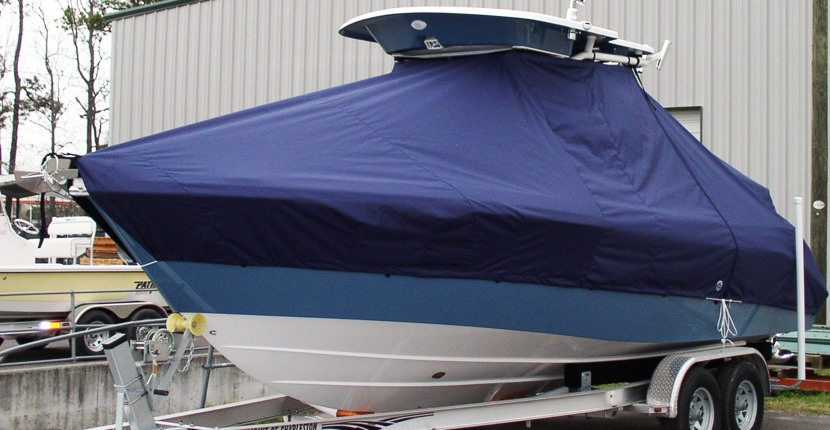 Everglades 250CC, 20xx, TTopCovers™ T-Top boat cover, port front
