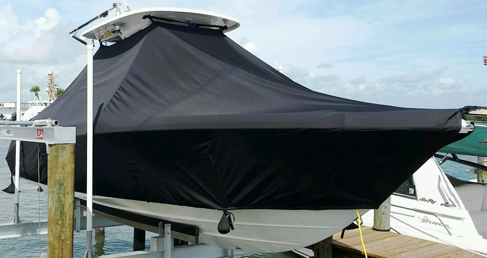 Everglades 255CC, 20xx, TTopCovers™ T-Top boat cover, starboard front