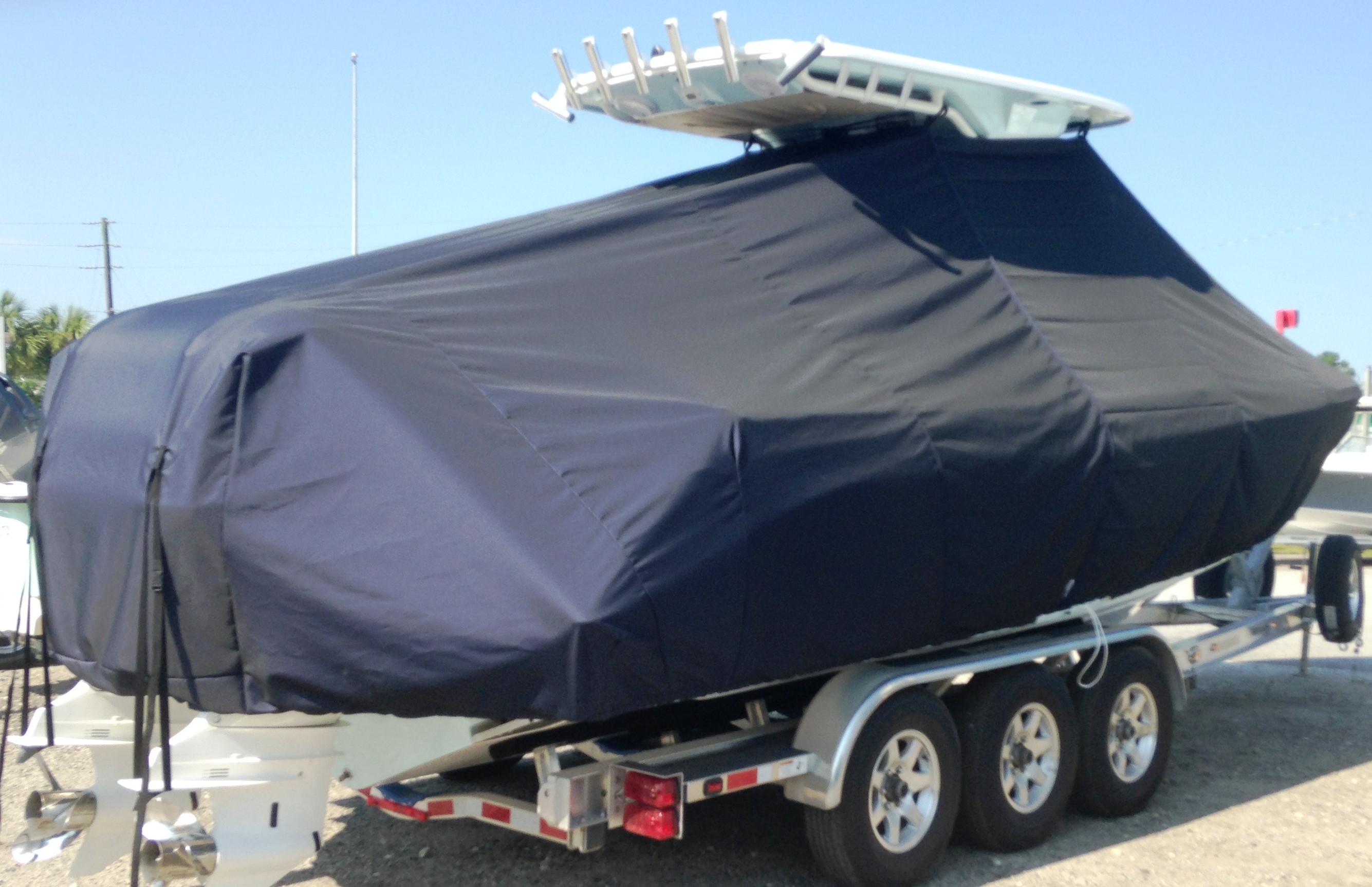 Everglades 275CC, 20xx, TTopCovers™ T-Top boat cover, starboard rear