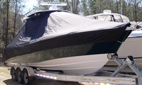 Photo of Everglades 290 Pilot 20xx T-Top Boat-Cover, viewed from Starboard Front