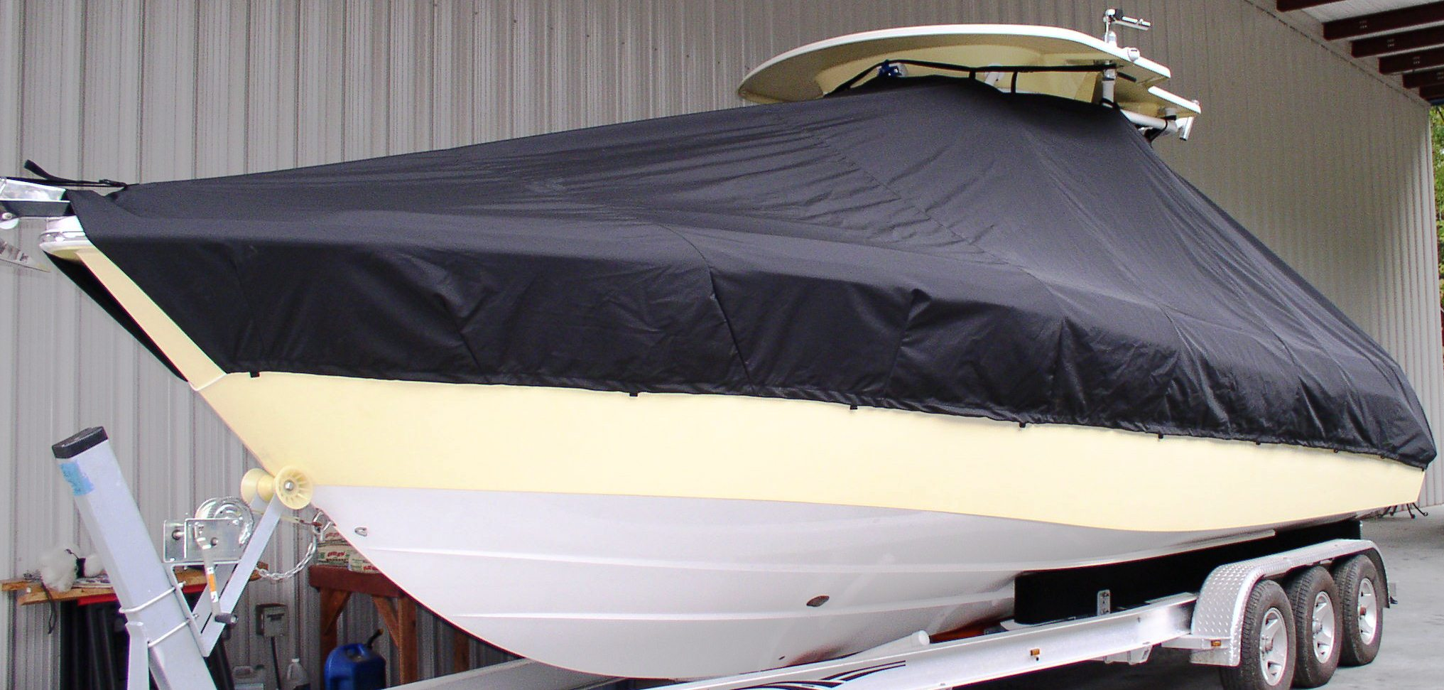 Everglades 290CC 20xx T-Top-Boat-Cover, port-front