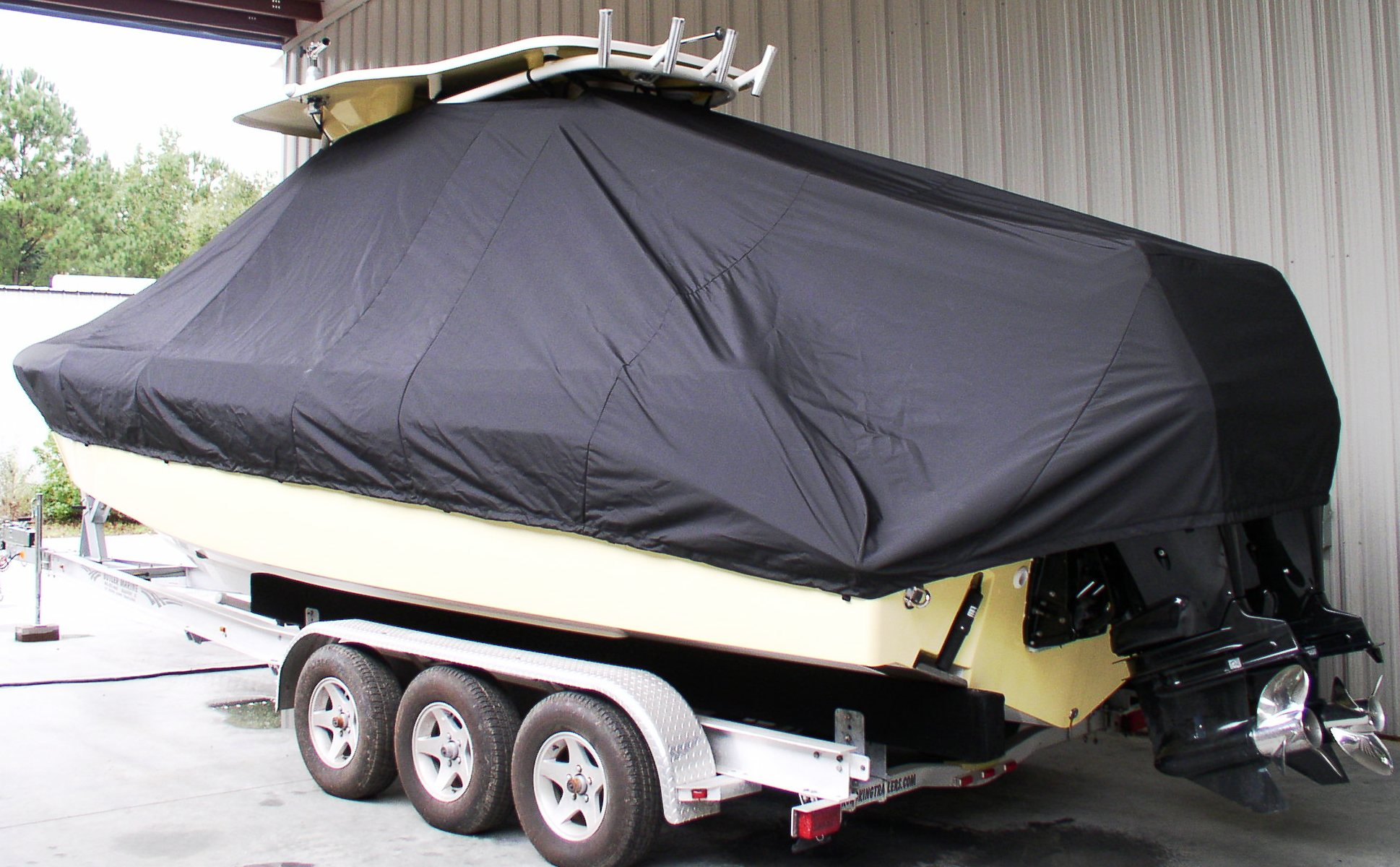 Everglades 290CC, 20xx, TTopCovers™ T-Top boat cover, port rear