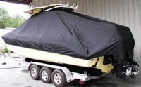 Photo of Everglades 290CC 20xx T-Top Boat-Cover, viewed from Port Rear