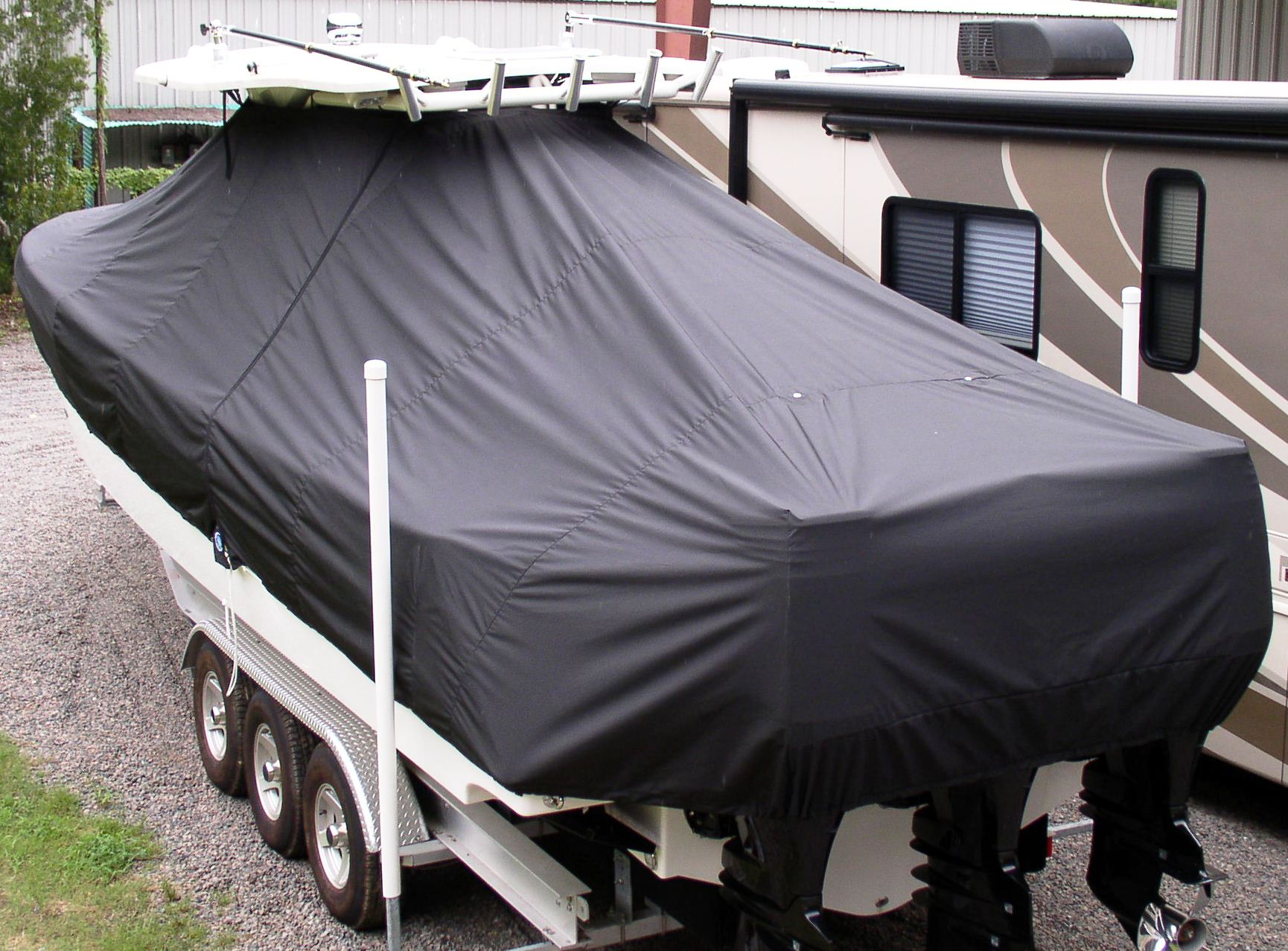 Everglades 350CC, 20xx, TTopCovers™ T-Top boat cover, port rear above