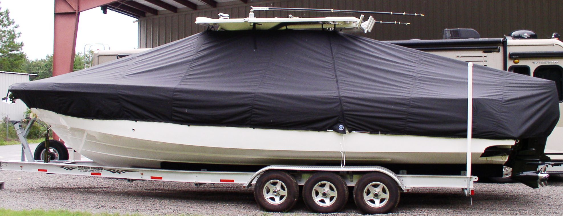 Everglades 350CC, 20xx, TTopCovers™ T-Top boat cover, port side