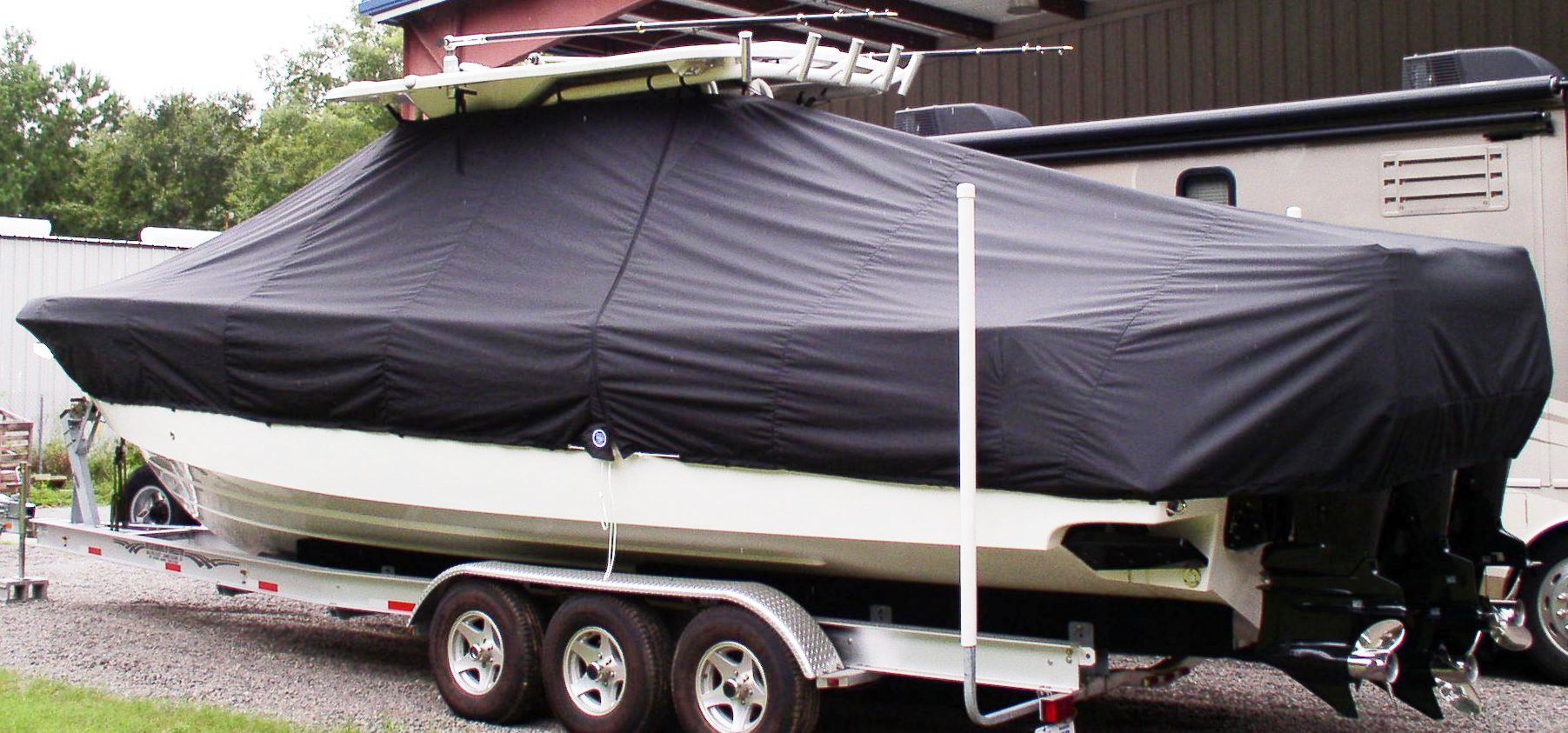 Everglades 350LX, 20xx, TTopCovers™ T-Top boat cover, port rear