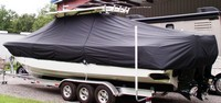 Photo of Everglades 350LX 20xx T-Top Boat-Cover, viewed from Port Rear
