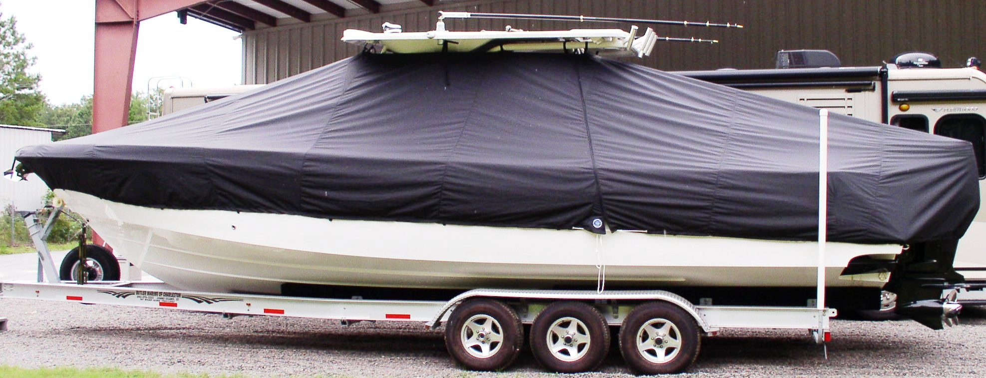 Everglades 350LX, 20xx, TTopCovers™ T-Top boat cover, port side