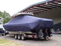 Photo of Everglades 355CC 20xx T-Top Boat-Cover, viewed from Port Rear